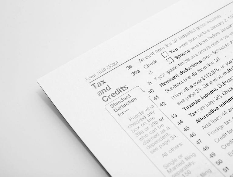Tax form, close-up
