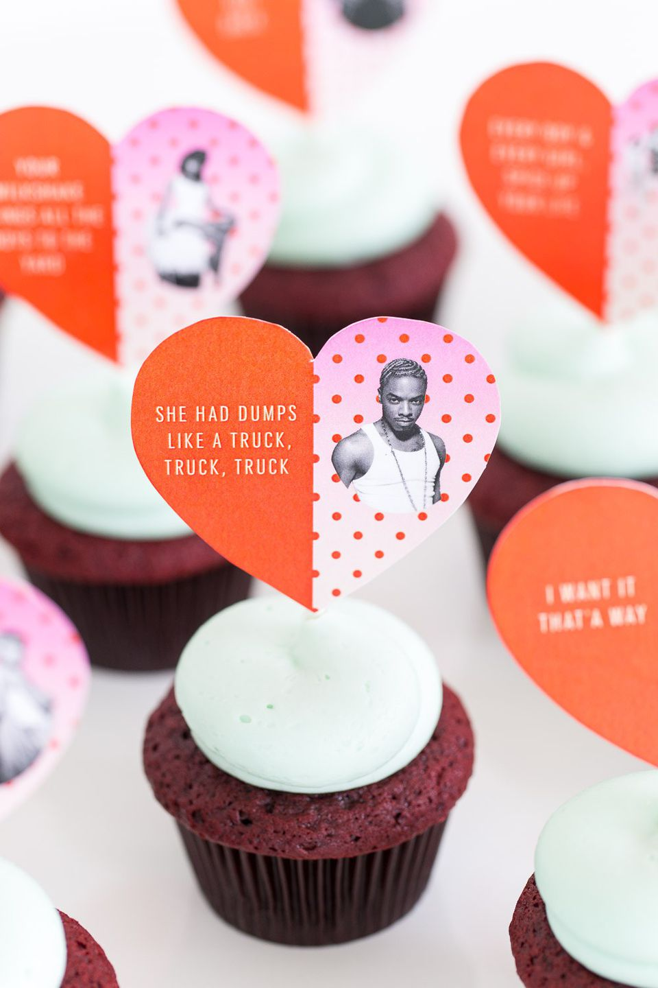 DIY Song Lyrics Valentine's Day Cupcake Toppers