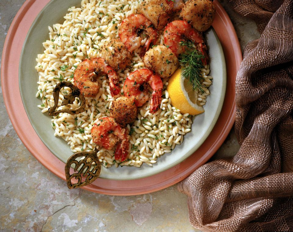 Shrimp skewers on rice