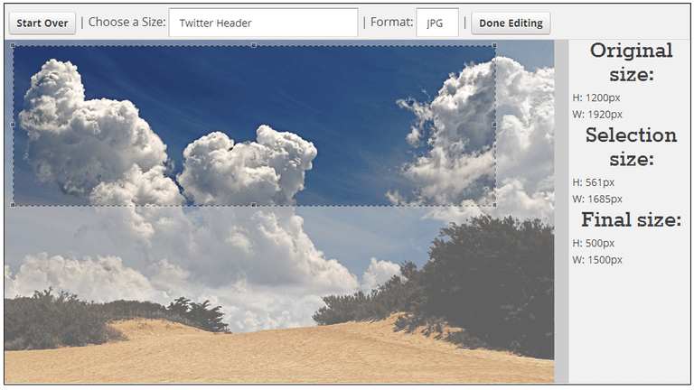 Screenshot of Social Image Resizer Tool