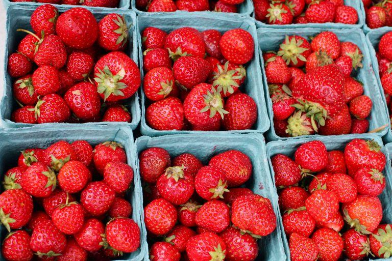 Red strawberries.