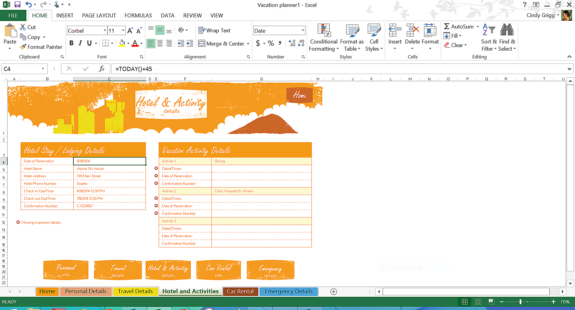 ways to use excel to plan a vacation
