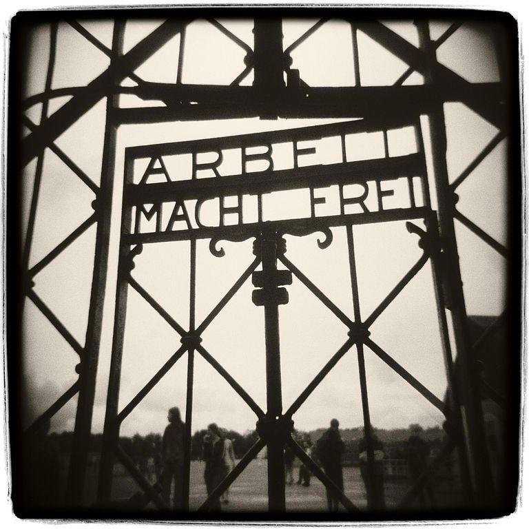 Germany, Dachau Concentration Camp, entry gate (grainy, B&W)