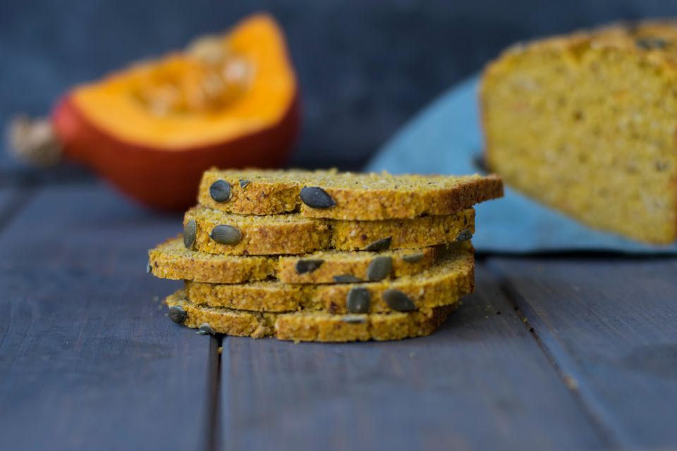 Close-Up Of Pumpkin Bread Slices On Table