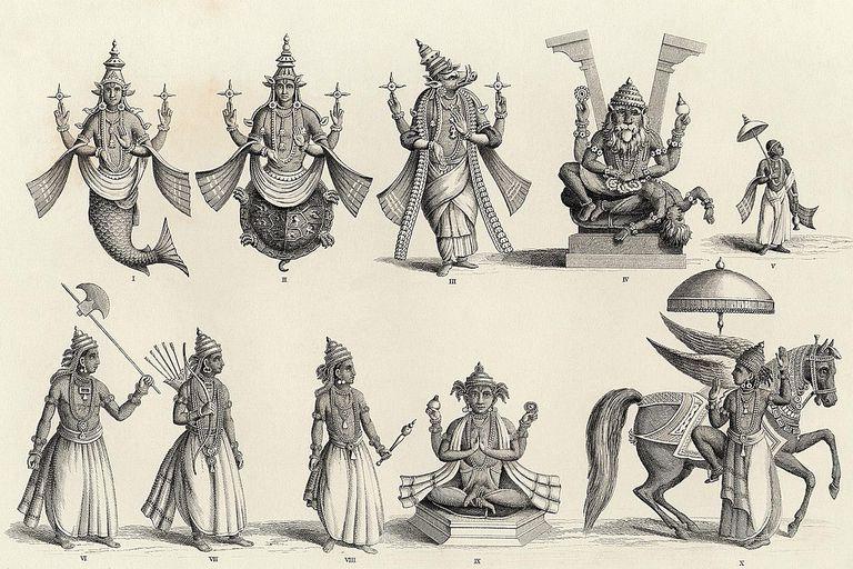 The 10 avatars of Vishnu