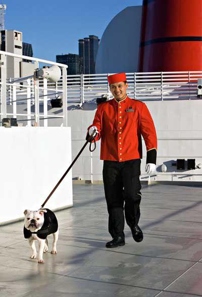 Cunard Steward Walking Dog on Deck of Queen Mary 2