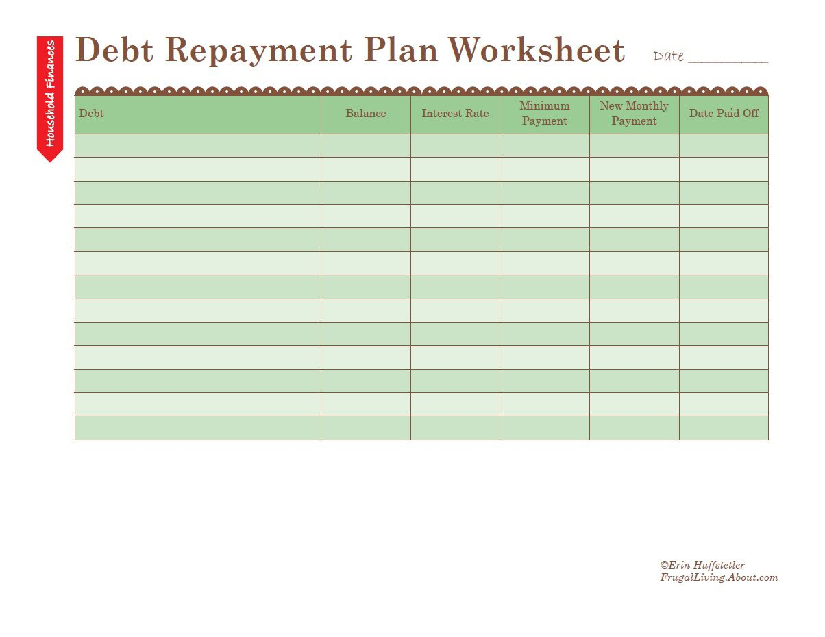 How to Use a Debt Repayment Plan Worksheet – Change Plan Worksheet