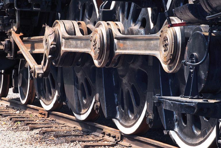 Close-up of train locomotive