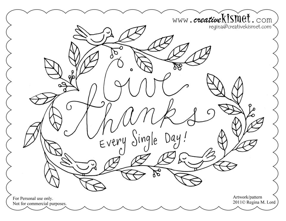 Give Thanks Every Single Day Pattern