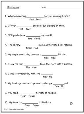 Homonyms - Homophone Worksheets