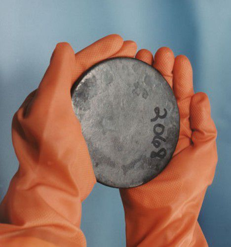 Uranium is a silvery-white metal.