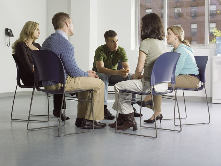 Small group of people in community center