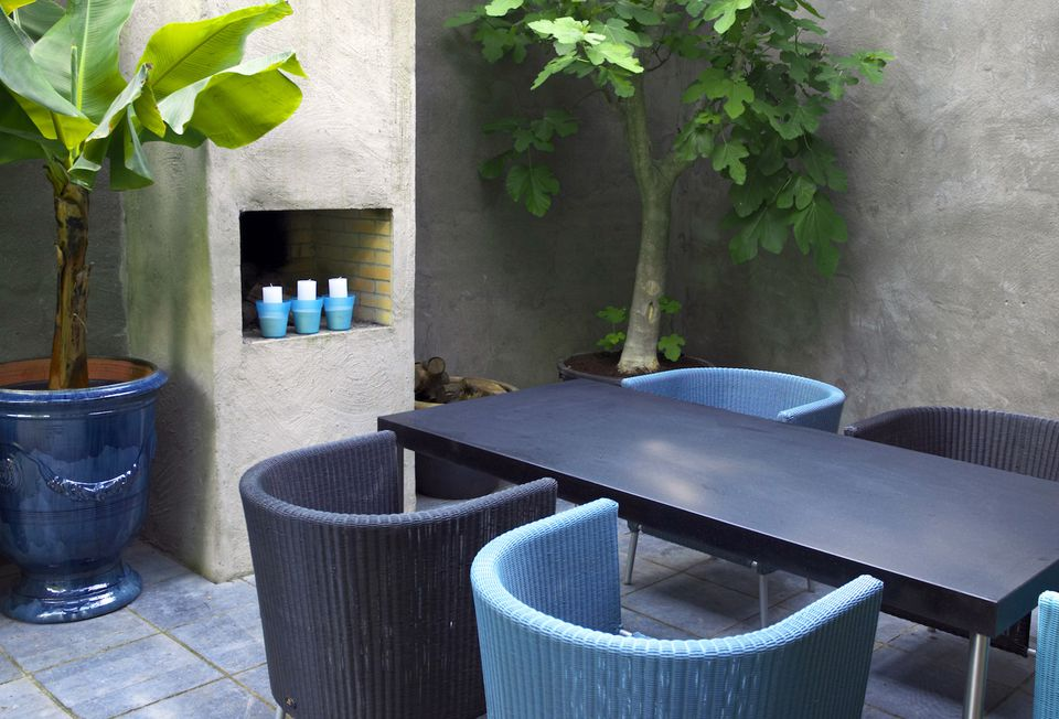 Decorating unused outdoor fireplace