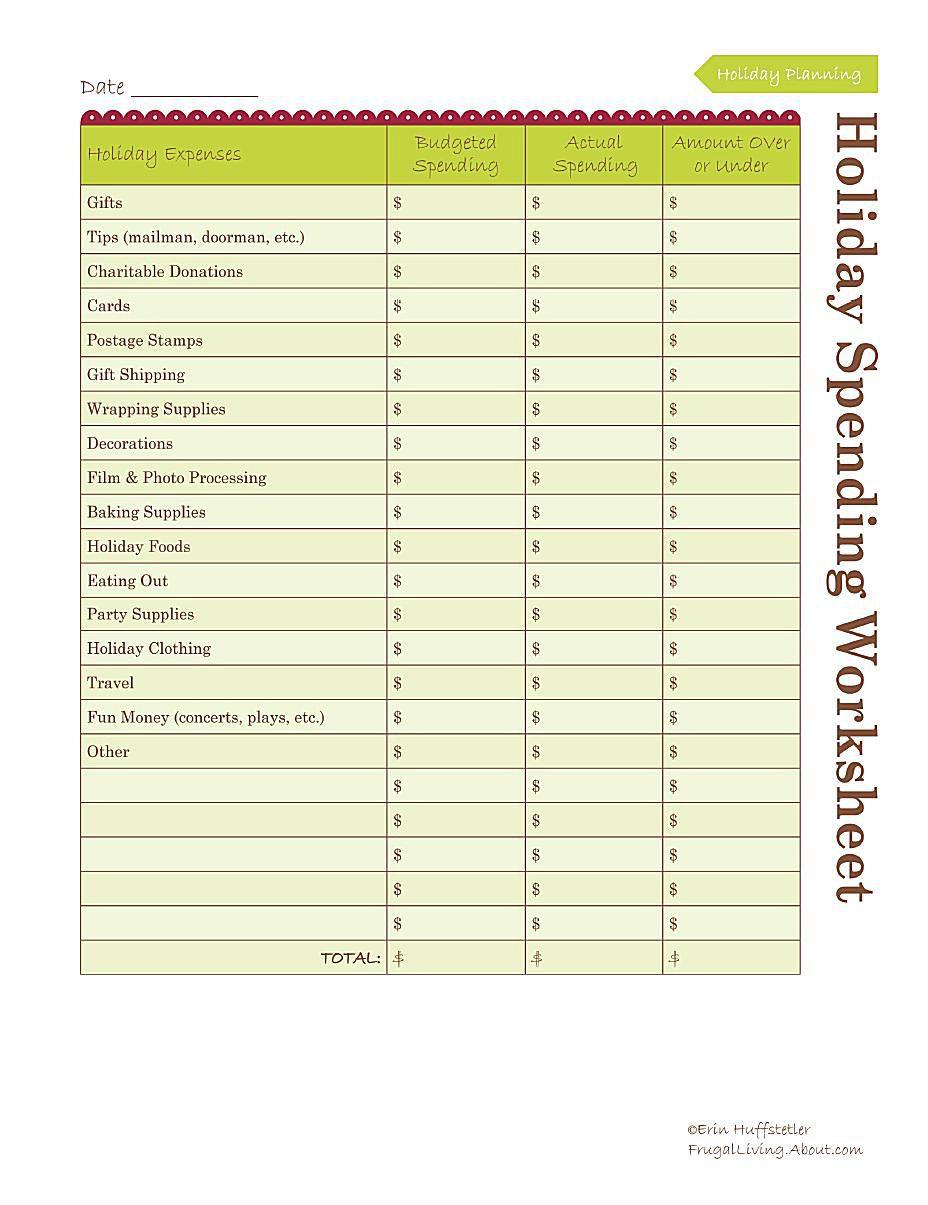 worksheet Budgeting Worksheets For Adults free holiday budget worksheet
