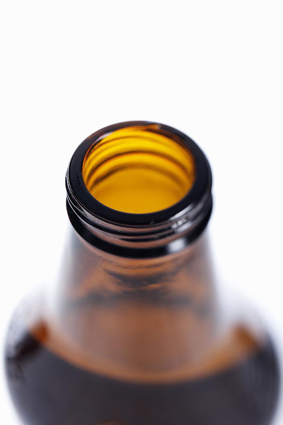 Elevated View of a brown open Beer Bottle