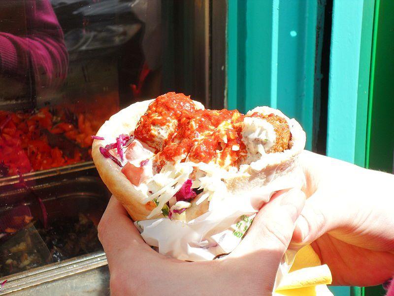 The famed falafel from L'as du falafel in Paris.