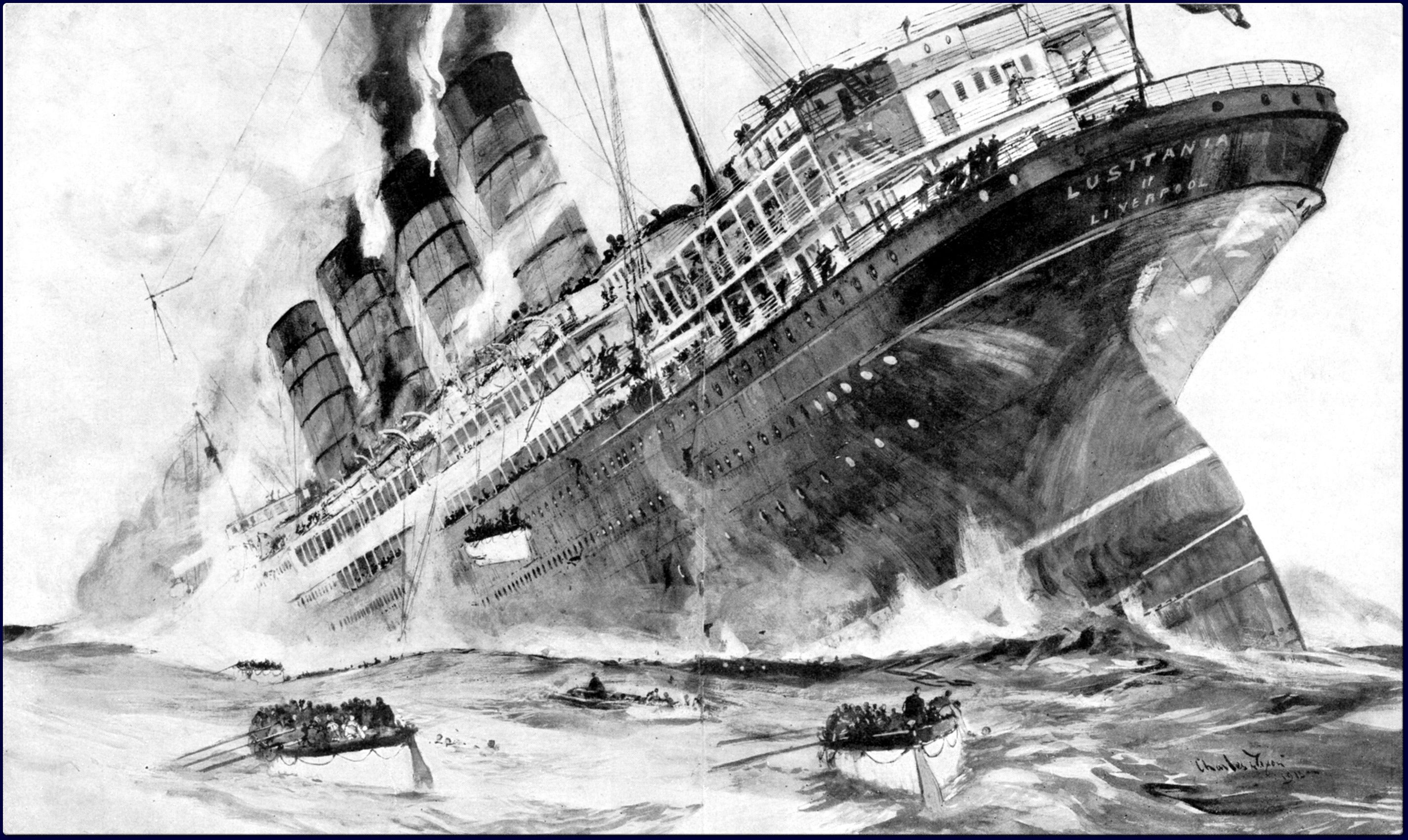 Rms lusitania wreck rms lusitania wreck quotes - Illustration Of The Sinking Of The Lusitania In 1915