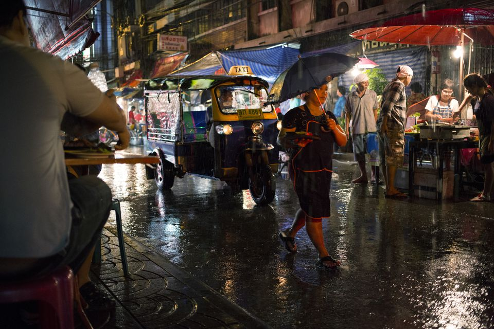 A rainy night in Bangkok's Chinatown, Thailand