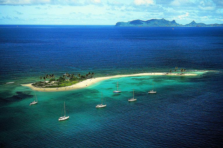 Yachts by tropical island, aerial view, Sandy Island, Grenadines