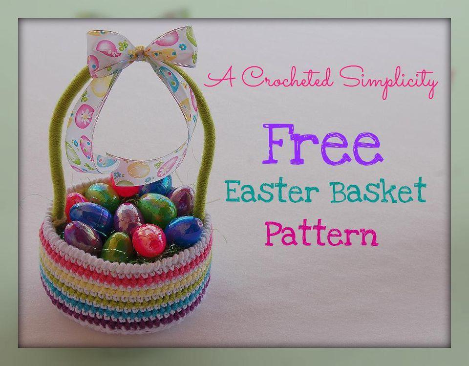 10 free crochet easter basket patterns striped crochet easter basket free patterng negle Images