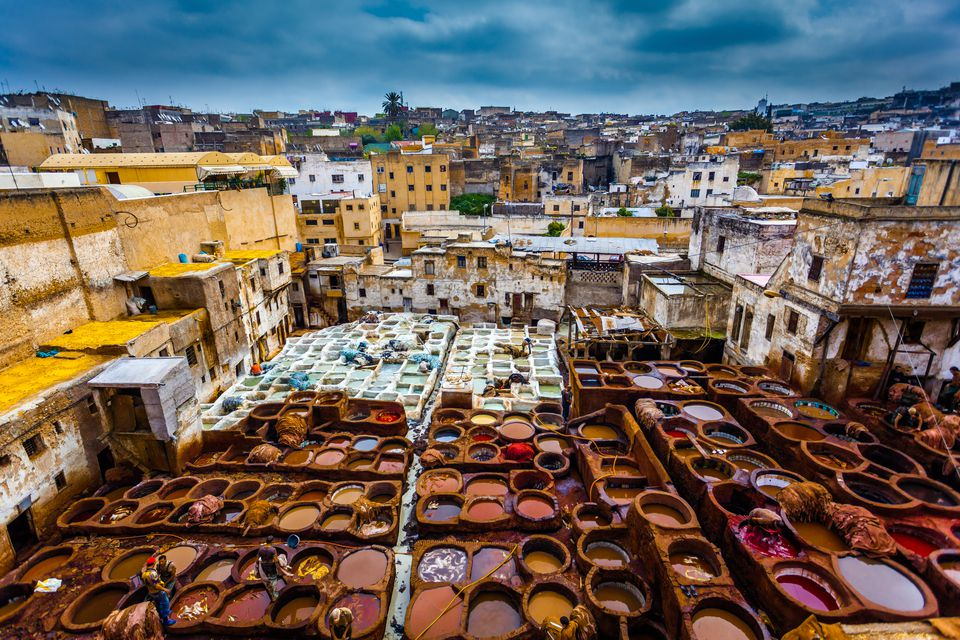 Morocco, Fes, Medina, Tanneries souk