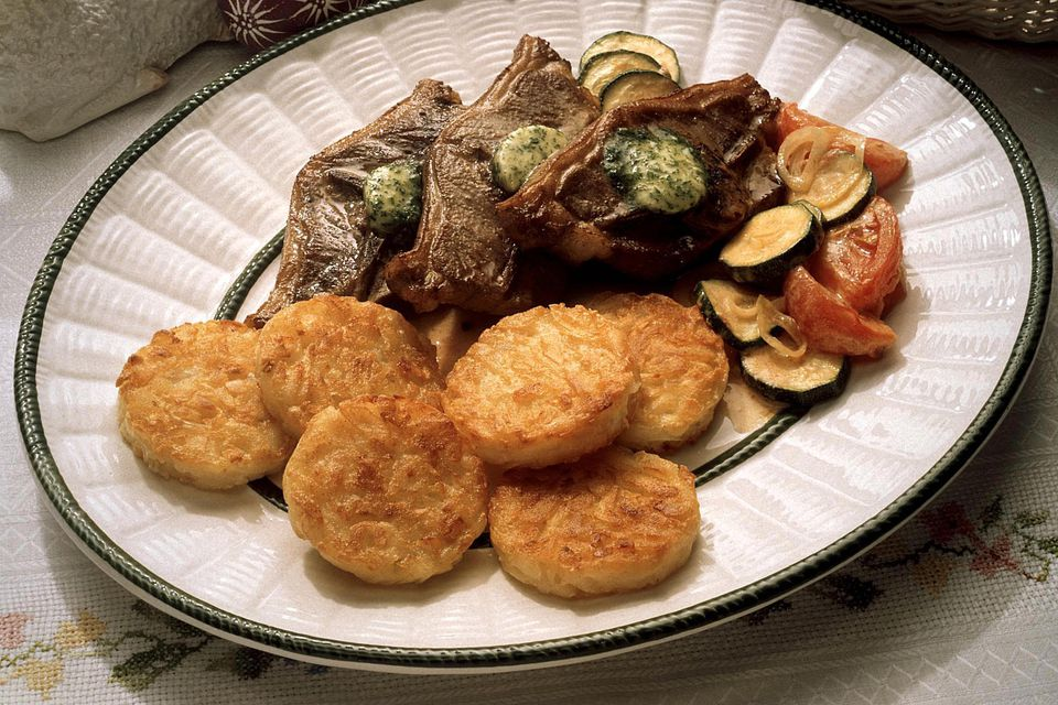 Lamb Chop with Herb Butter and Potato Patties