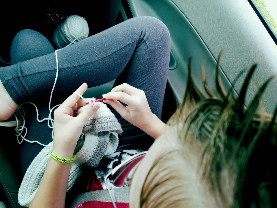 Crocheting in car