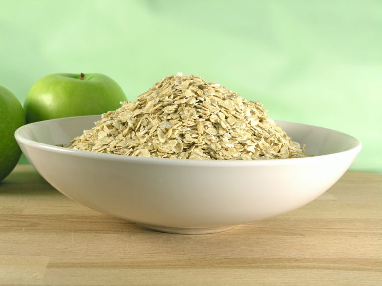 A bowl of steel-cut oatmeal.
