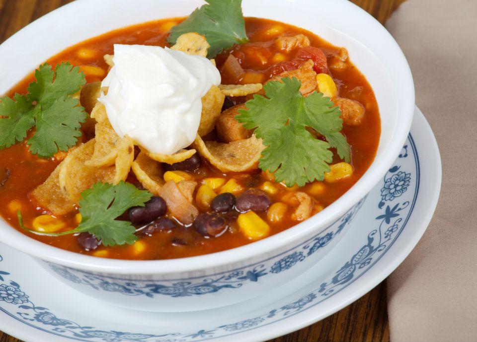 Three bean vegetarian taco soup