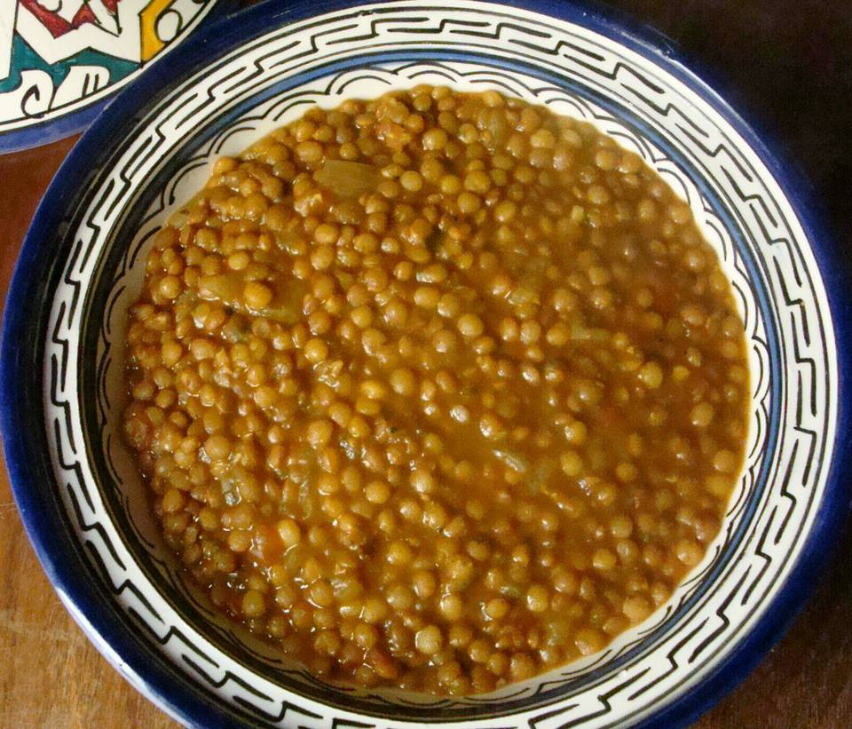 A bowl of Moroccan Stewed Lentils