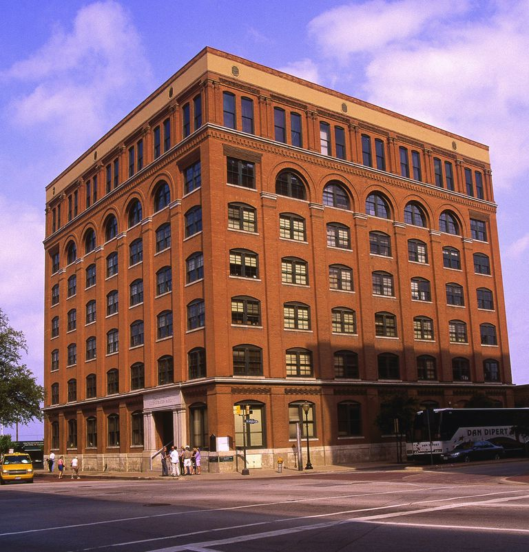 Seven story brick warehouse, site of JFK assassination in 1963 Dallas, Texas
