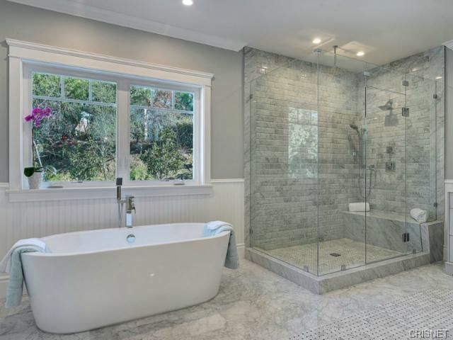 gray and marble master bathroom