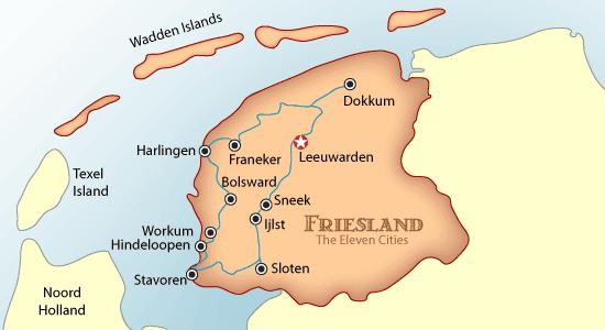 friesland, the netherlands, friesland map