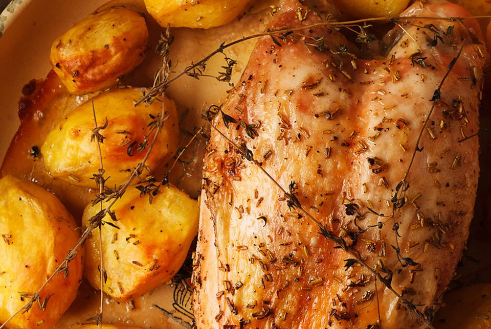 Baked chicken breast and potatoes