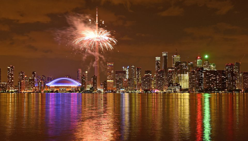 Toronto's skyline and a fireworks display to remember.