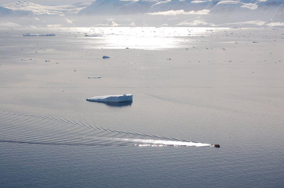 Zodiac boat in Orne Harbor, Antarctica