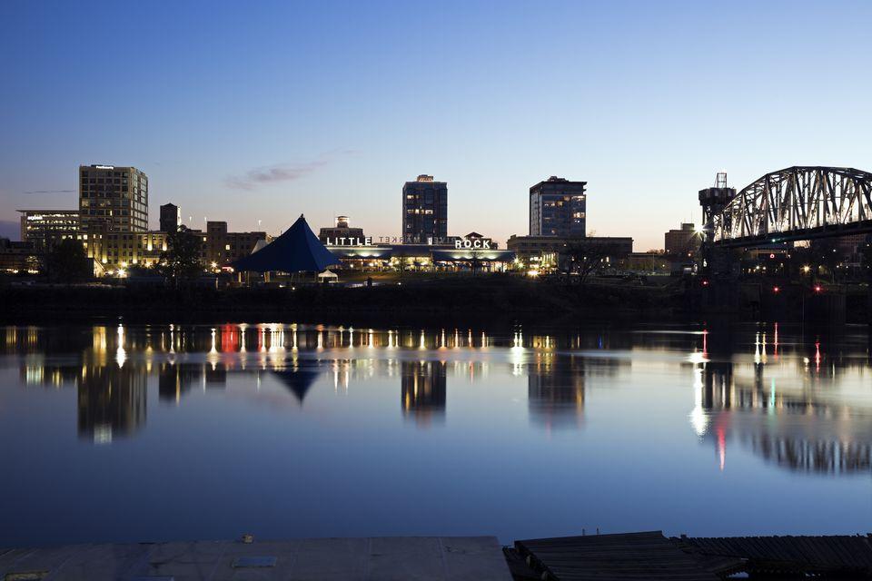 USA, Arkansas, Little Rock, Downtown skyline illuminated at night