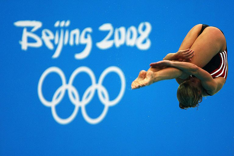 Heike Fischer of Germany practices for the women's diving competition at the National Aquatics Center ahead of the Beijing 2008 Olympic Games on August 4, 2008 in Beijing, China.