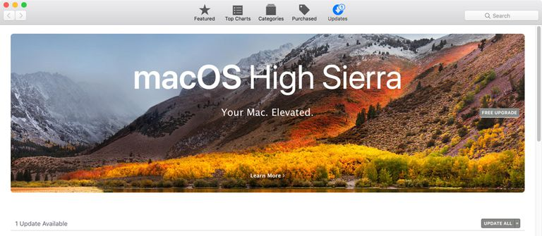 Mac App Store with macOS High Sierra featured