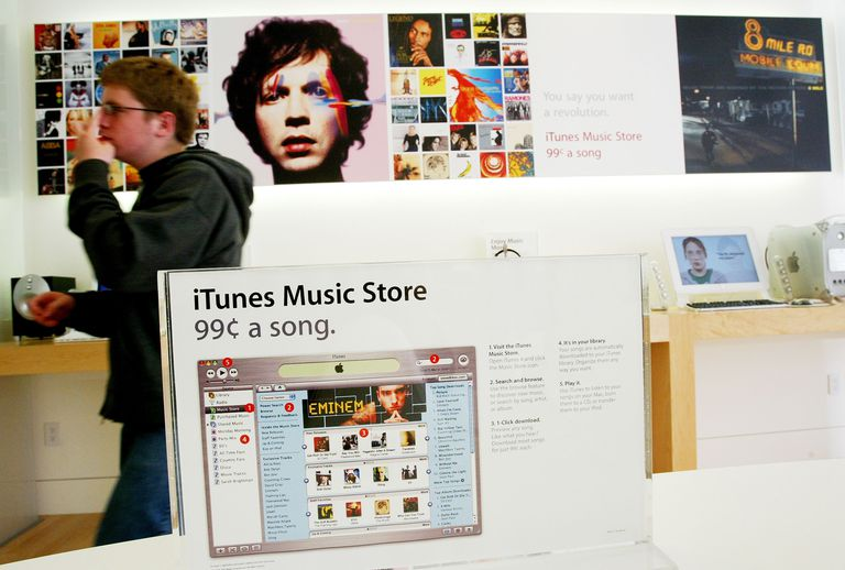 iTunes on display at Apple store.