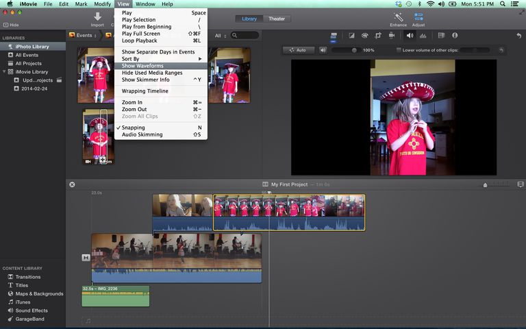show waveforms in iMovie