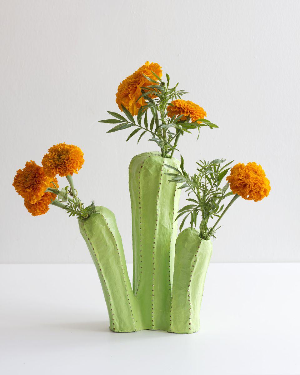paper mache cactus vase