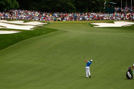 Rory McIlroy hits to the 5th green at Quail Hollow Club