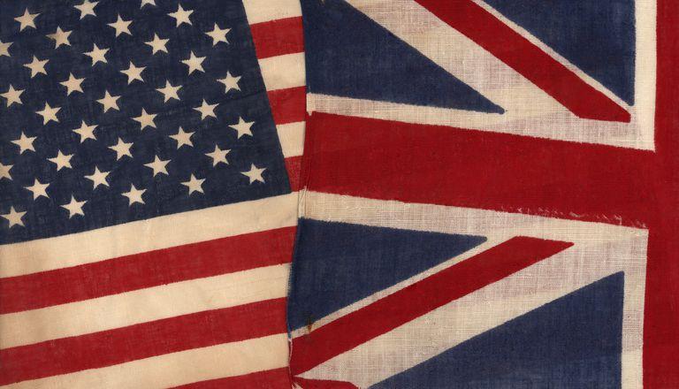 Vintage US and Union Jack Flags