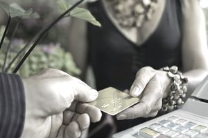 Retail credit card transaction at florist