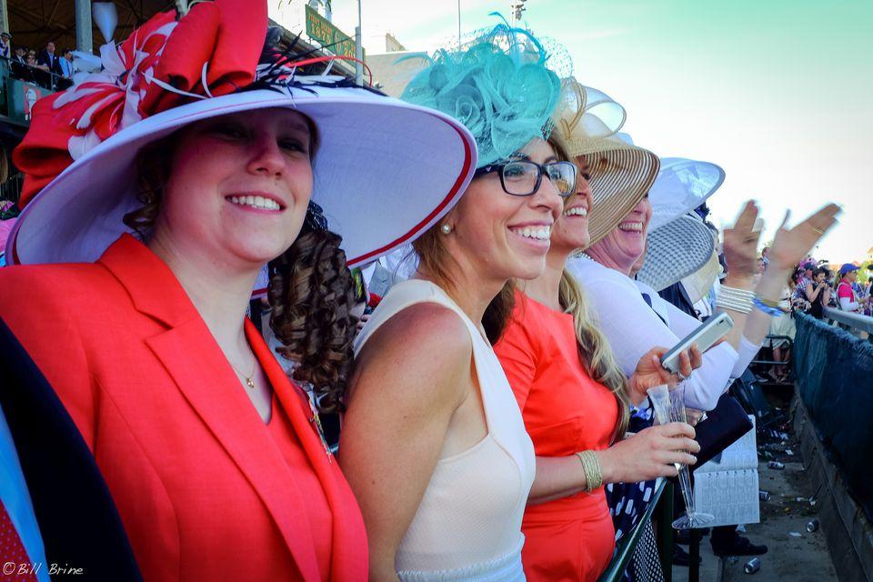 Kentucky derby hats worn by many women