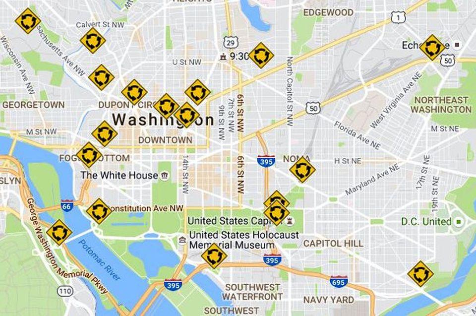 Washington DC Traffic Circles Map