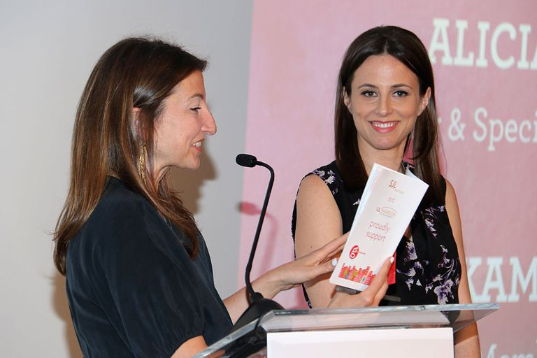 Author Author Kamy Wicoff and Co-emcee Alicia Menendez, Anchor and Special Correspondent at Fusion, speak onstage at Girls Write Now Awards on May 17, 2016 in New York City
