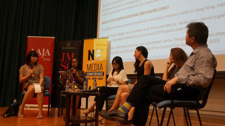 Panel discussion on how the media covers ethnic minorities in Hong Kong University as the Asian American Journalists Association (AAJA) 2014 regional conference.
