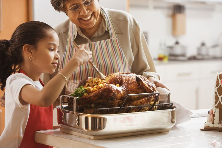 Girl basting a Thanksgiving turkey with her grandmother.
